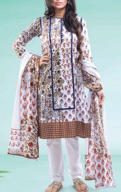 Buy White/Brown Printed Cotton Lawn Salwar Kameez by Warda Print Lawn 2015.