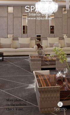 التصميم الداخلي الفاخر والديكورات الانيقة لغرفة الضيوف أو غرفة المعيشة في منازل دبي. يمكنك طلب تصميم راقي لمنزلك في دبي ، أبوظبي، الرياض، جده، الدمام والخبر.احصل على أفكار التصميم الفاخرة الاكثر إلهاما وابداعا والإلهام على الموقع الألكتروني سبازيو.