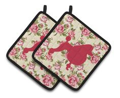 Poodle Shabby Chic Yellow Roses Pair of Pot Holders BB1072-RS-YW-PTHD