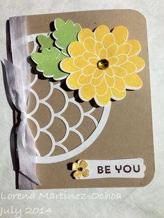 Stampin' Up! Striped scallop and Flower patch stamp. Version 2