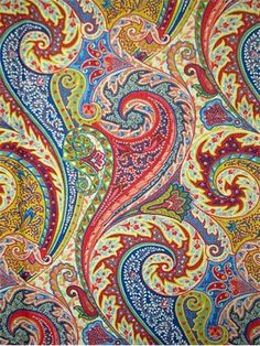 "Jaipur Paisley Jewel. Williamsburg Colonial Fabric Collection. 100% linen. Multipurpose, linen, paisley print fabric. V 25.25"" H 6.5"" up the roll repeat. 54"" wide."