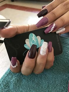 Acrylic nails, nails ser, wine nails