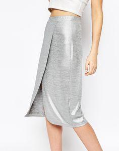 Image 3 ofMonki Wrap Front Metallic Skirt