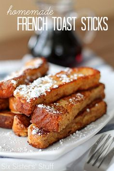 Homemade French Toast Sticks from SixSistersStuff.com.  You'll never want to eat the pre-made, frozen kind ever again! #sixsistersstuff