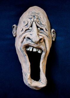 Ceramic Face Wall Sculpture /9 inch/ Medium by blmartinstudios