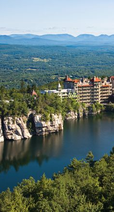 Mohonk Mountain House is a Victorian castle resort on a secluded lake in the Hudson Valley.