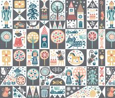 Nutcracker Cheater Quilt fabric by christinewitte on Spoonflower - custom fabric