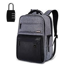 Laptop Computer Backpack, Leather College School Student Casual Travel Back Pack Rucksack Daypacks Bags With LOCK Up To 18 Inch (Grey - L 18.3 * 13.0 * 10.2 IN)