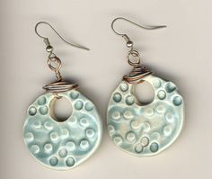 Aqua Blue PolkaDot Earrings round hoops with silver by mariagotart, $12.99