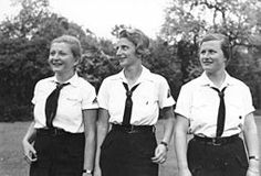 1939 - members of the League of German Girls.  The League of German Girls or  Band of German Maidens (German: Bund Deutscher Mädel or BDM), was the girls' wing of the Nazi Party youth movement.  All other youth organizations were banded in June 1933.  In December 1936, membership became mandatory for all ethnic German girls over age 10.