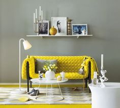 Grey Green Walls with Mustard Furnishings - Love It
