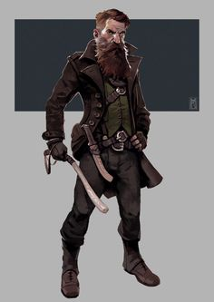 Borislav Mitkov - illustration/concept art/storyboarding - Hipster Trapper - character for unannounced project. Dungeons And Dragons Characters, Dnd Characters, Fantasy Characters, Fictional Characters, Fantasy Character Design, Character Creation, Character Art, Fantasy Inspiration, Character Inspiration