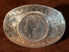 $485    Sterling Silver Oval Belt Buckle, Jewelry by Navajo