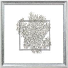 """Silver Sea Fan Framed Wall Art - 18"""" x 18"""""""