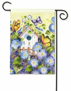 """Morning Glory Garden Flag by BreezeArt. $10.99. Hand wash, cold water, mild soap.. BreezeArt Decorative Garden Flag Dimensions: 12.5"""" x 18"""".. Silky Soft, Fade and Mildew Resistant SolarSilk Fabric.. Buy direct from Flags On A Stick and save on all your decorative flags today!. Outdoor Seasonal Garden Flag features colorful morning glories, charming birdhouse and butterflies. Elegant details and colorful background by Artist Kathleen Parr McKenna. Pr..."""