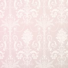 """Josette"" wallpaper in amethyst pink with white Rococo damask scrolls from Laura Ashley."