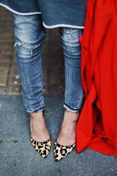 distressed denim + leopard print shoes.