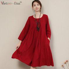 0794ceb0c4 Aliexpress.com   Buy Casual Chinese style Summer Dress 2016 Women Elegant  Loose long O Neck Dress Cotton Linen knee length plus size Maxi Dress B8213  from ...