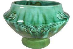 Green Drip-Glaze Footed Planter