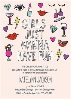 brides just wanna have fun invite : perfect for a throwback bridal shower or bachelorette slumber party Bachelorette Slumber Parties, Bachelorette Party Planning, Bachlorette Party, Bachelorette Party Invitations, Bridal Shower Invitations, Girls Party Invitations, Bachelorette Weekend, Sleepover, Bridal Shower Bride Outfit