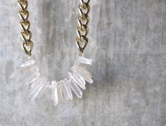 Chunky Light Gold Chain with Natural Quartz by GirlsWhoWearPearls on Etsy https://www.etsy.com/listing/224300502/chunky-light-gold-chain-with-natural