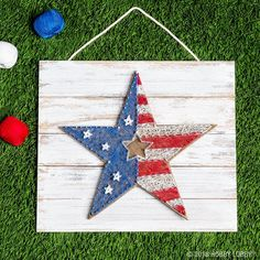 Showcase your love for the red, white and blue with DIY string art. Just embellish a wood pallet with the patriotic shape of your choice, outline with nails, and loop string around nails to create your design.