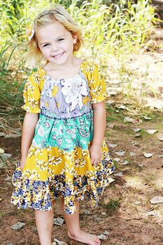 Mustard  Teal  Plum Twirl Dress  Rouched Capped by TwirlandTango, $39.00