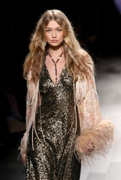 Gigi Hadid walks the runway at the Anna Sui Fashion show on September 11, 2017 in New York City