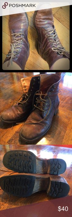 🙌🏽vintage Cole Hann leather rider boots🙌🏽 Vintage late 80's/early 90's leather Cole Hann ladies lace up rider boots. Leather is soft and durable. Made in Brazil. See all pics for scuff marks and leather wrinkles. Fits an 8.5 foot perfectly. In great condition. Inside is clean, outer runner soles are clean with no foot travel wear. See all photos please!! Will polish before shipping out!!! Cole Hann Shoes Lace Up Boots