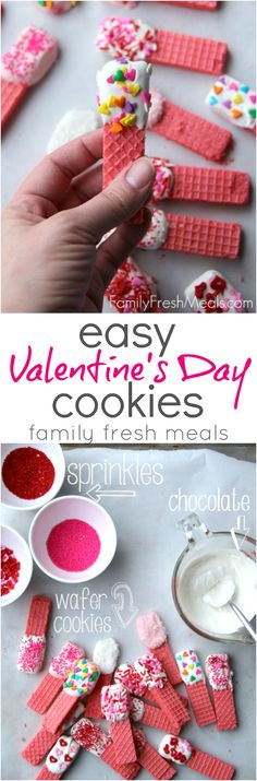 Super Easy Valentine's Day Cookies Recipe - Kids can help make this dessert recipe. Valentines Day Cookies, Valentines Day Treats, Valentine Day Crafts, Holiday Treats, Holiday Fun, Valentine Party, Valentine Deserts, Valentines Baking, Valentine Nails