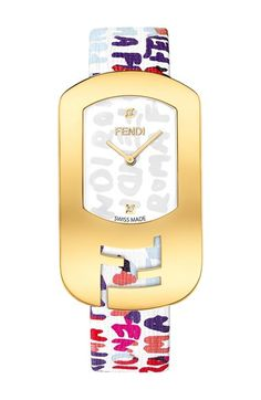 Fendi 'Chameleon' Graffiti Leather Strap Watch, 29mm x 49mm