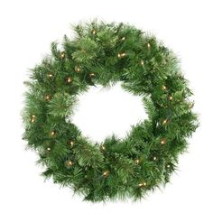"24"""" Pre-Lit Atlanta Mixed Cashmere Pine Artificial Christmas Wreath - Clear Lights"