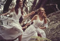 "I love the energy and movement in this shot - Models: Teresa Palmer and Phoebe Tonkin | Photographer: Will Davidson | Stylist: Petta Chua | Makeup: Kellie Stratton | Hair: Sophie Roberts - ""Lost In Time"" for Vogue Australia, March 2015"
