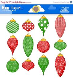 75 OFF Christmas Baubles Clipart. by BootiqueIllustration on Etsy