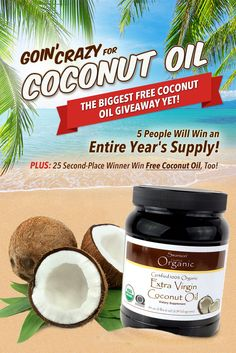 Listen up... here's your chance to win FREE coconut oil for a year!!! Yet another reason to love SwansonVitamins.com! (P.S. It's easy to enter...only took me a second.)
