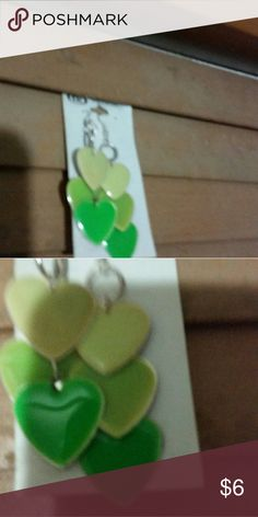 """Various shades of green hearts dangle earings Over 2 """", atleast, have to measure them Jewelry Earrings"""