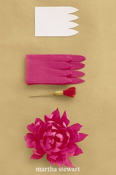 To create this crepe paper dahlia, use our template that uses 32 inches of petals inch strips of petals and a fringe stamen. Attach strip, placing end a little low on stamen and pleating bottom edge as you wrap, gradually bringing strip higher on stamen. Cup each petal inward, then curl inward. #marthastewart #crafts #diyideas #easycrafts #tutorials #hobby Paper Dahlia, Crepe Paper Flowers, Diy Flowers, Diy Arts And Crafts, Easy Crafts, Paper Crafts, Pink Sunflowers, How To Make Crepe, Clothes Crafts