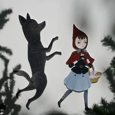 Little Red Riding Hood & The Wolf Two articulated door woolandwater