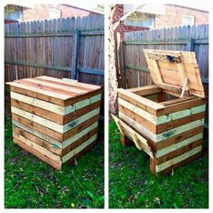 I made this compost bin out of reclaimed pallet wood. It's approximately 3'x3'x4'. It took me approximately 3 hours to build. That included breaking down the pallets, framing and reassembling the wood into what you see in the picture. It…