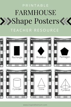 Need some shape posters for your homeschool or classroom? Check out these farmhouse-themed ones! Also comes with options and extras! #farmhouse #printable #shape #poster #posters #classroom #decor #homeschool #home #school #schoolroom #teacher #resource #wall #art #shapes #math #2D #3D #square #triangle #cylinder #digital #download Classroom Board, Classroom Themes, Classroom Activities, Early Elementary Resources, Printable Shapes, Shape Posters, Learning Shapes, Early Math, Printable Activities For Kids