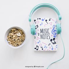 Book cover template with headphones and cereals Free Psd