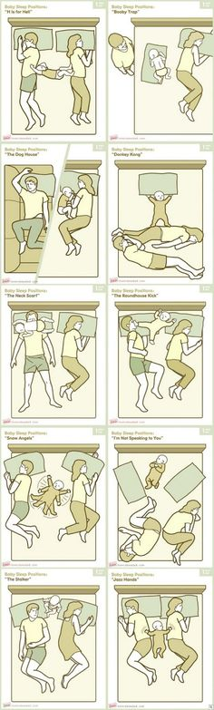 """Baby Sleep Positions...we've already dealt with many of these, and we only bedshare when making a desperate attempt to get a little more sleep! """"The Stalker"""" is probably my favorite. :)"""
