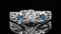 Avalon Royale Puzzle Ring with Princess-Cut Diamond and Sapphires