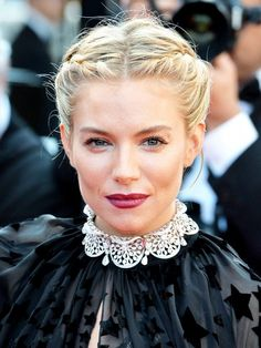 Sienna Miller's nails this beauty look with braids and a deep raspberry pout