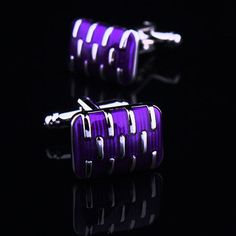 Purple Face Cufflink on Silver Cup Cufflink