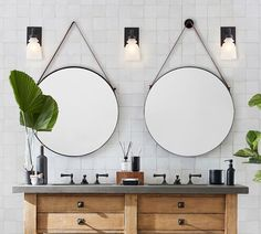 Shop Pottery Barn for expertly crafted bathroom mirror cabinets. Browse our collection of bath mirrors and medicine cabinets and create a stylish bathroom retreat. Bathroom Style, Bathroom Furniture, Round Hanging Mirror, Bathroom Wallpaper, Bathroom Mirror, Round Mirror Bathroom, Hanging Mirror, Bathrooms Remodel, Bathroom Design
