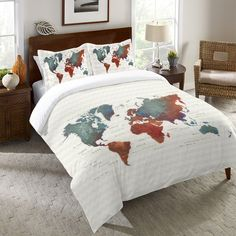 GUEST ROOM  Map Duvet Cover and Shams, Colorful World by James Wiens