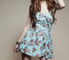 Very cute light blue floral dress.
