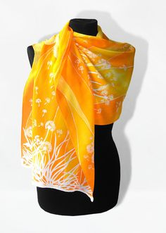 Silk Scarf long - Dandelions & Birds - summer scarves - orange white yellow woman accessories