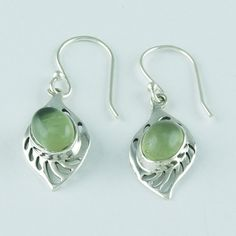 PREHNITE STONE DESIGNER LOOK LIGHT WEIGHT 925 STERLING SILVER EARRINGS #SilvexImagesIndiaPvtLtd #DropDangle
